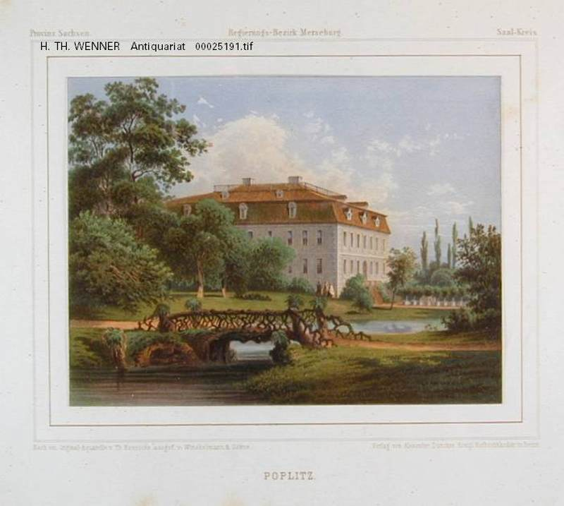 Poplitz Alsleben Saale Blick Schloss Park Farblithographie